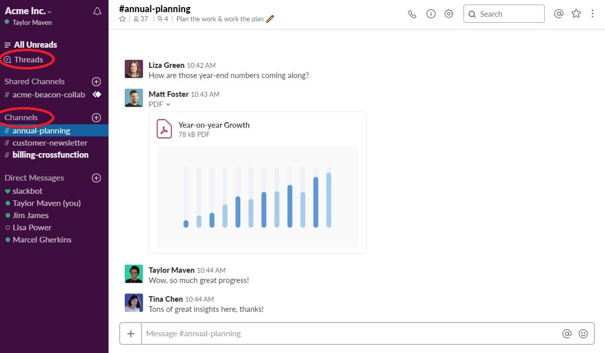 Slack Example Screenshot