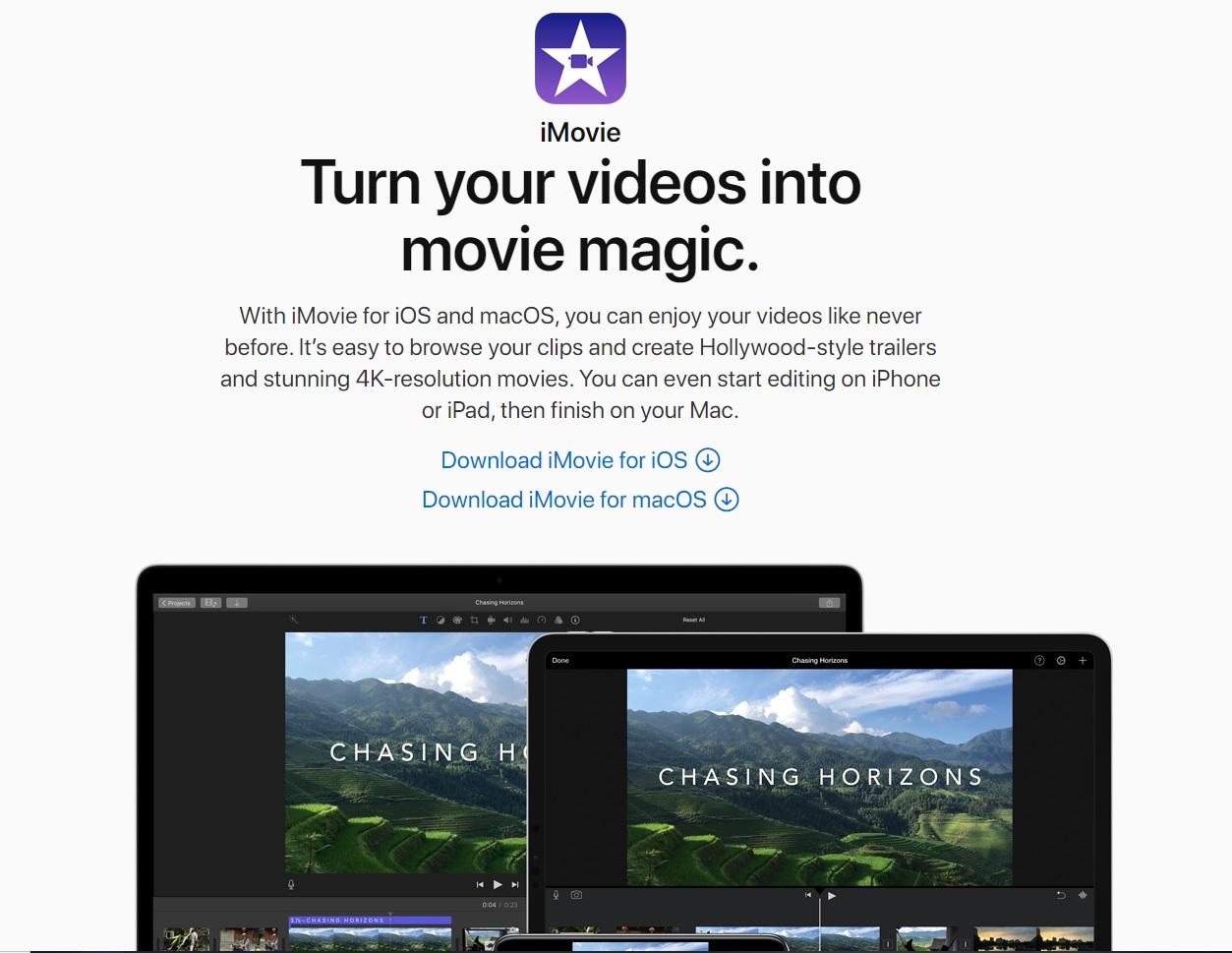 助你數碼營銷的5個影片製作工具 - iMovie