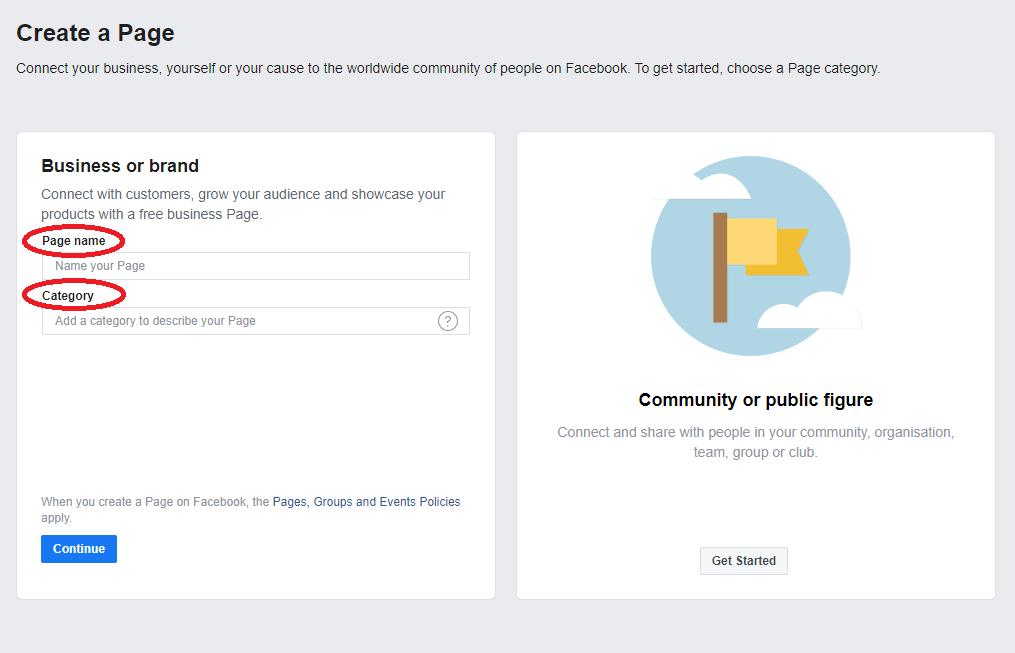 建立公司Facebook專頁(企業管理平台)的7個步驟 - 填寫頁面名稱和商業種類
