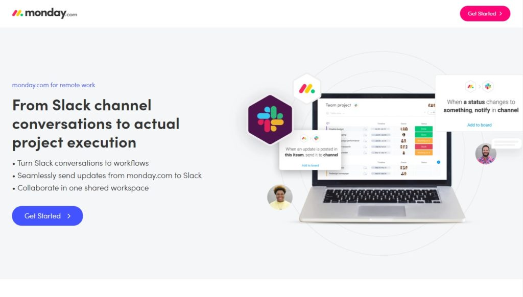 Monday landing page_slack integration