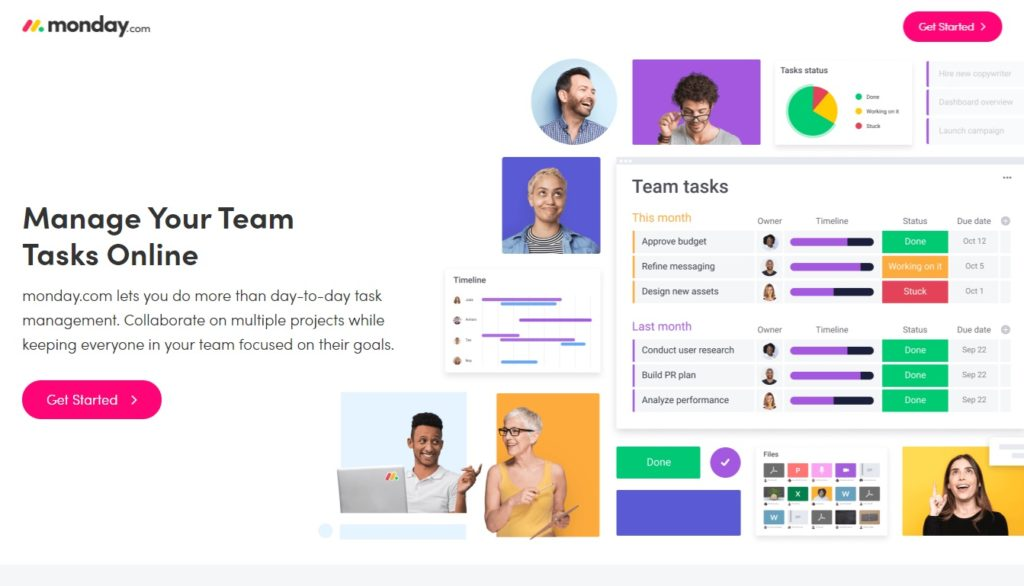 Monday landing page_team management