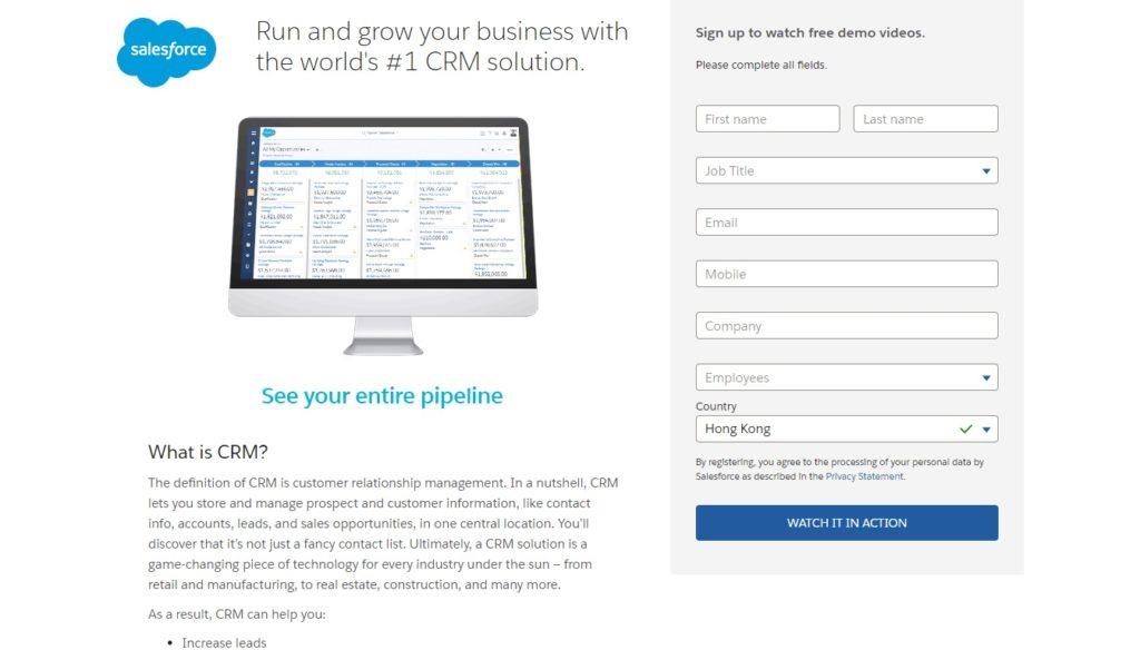 Salesforce landing page_optin form