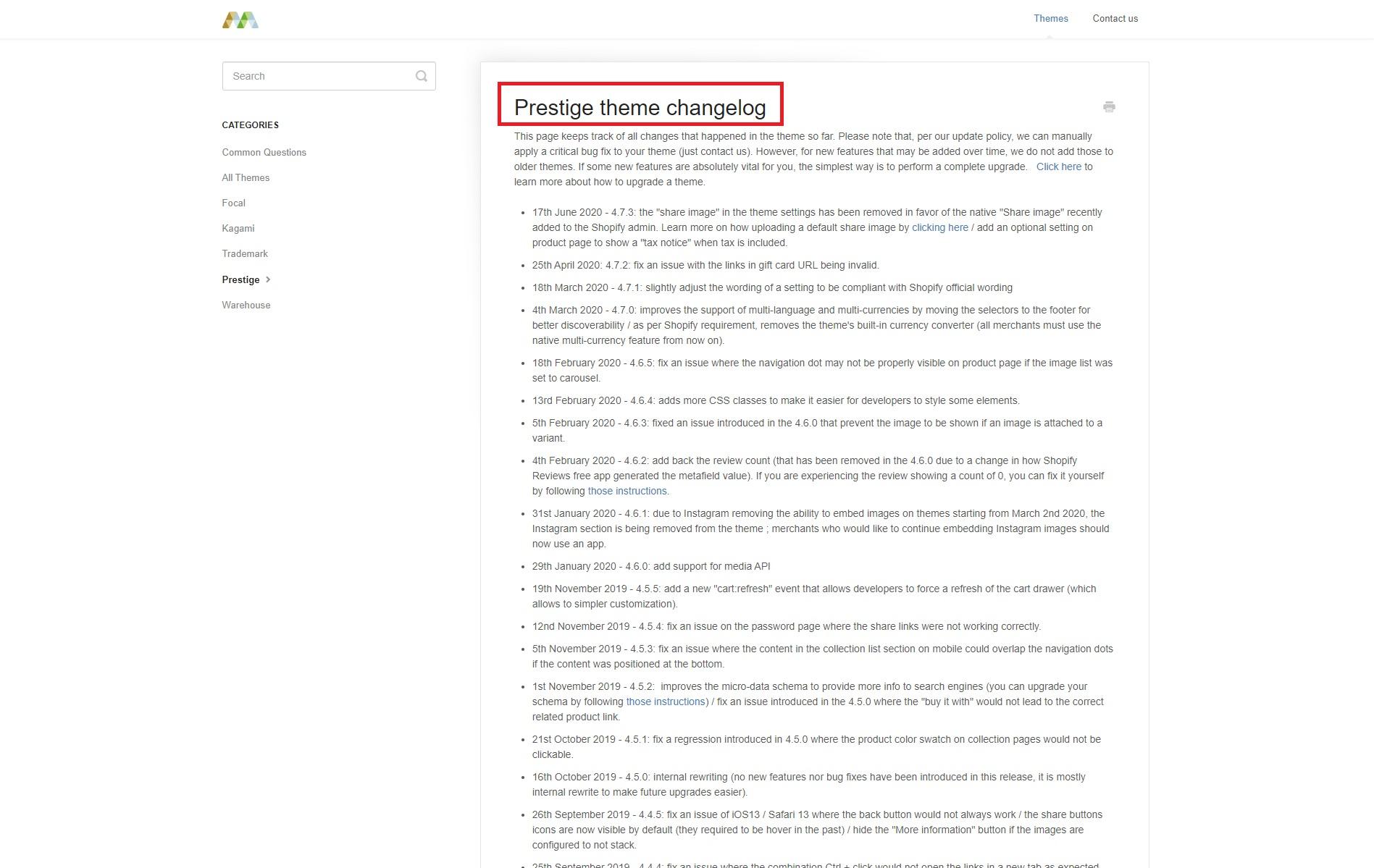 Shopify Theme changelog