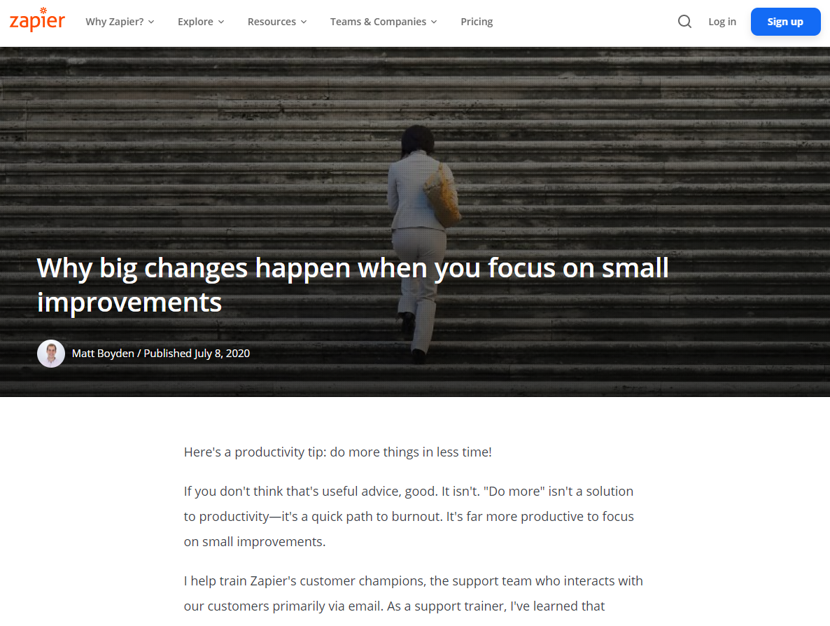SaaS Company's 1st Step to Content Marketing - Small Improvements