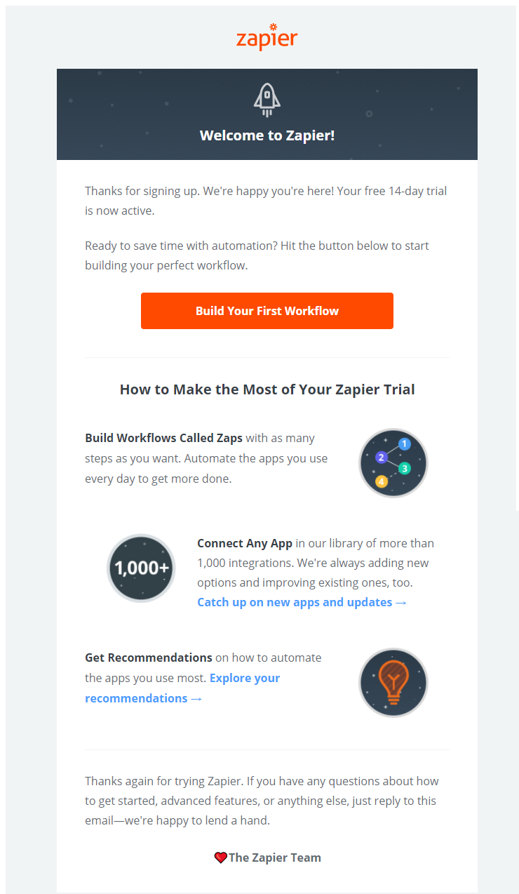 SaaS Company's 1st Step to Content Marketing - Welcoming email