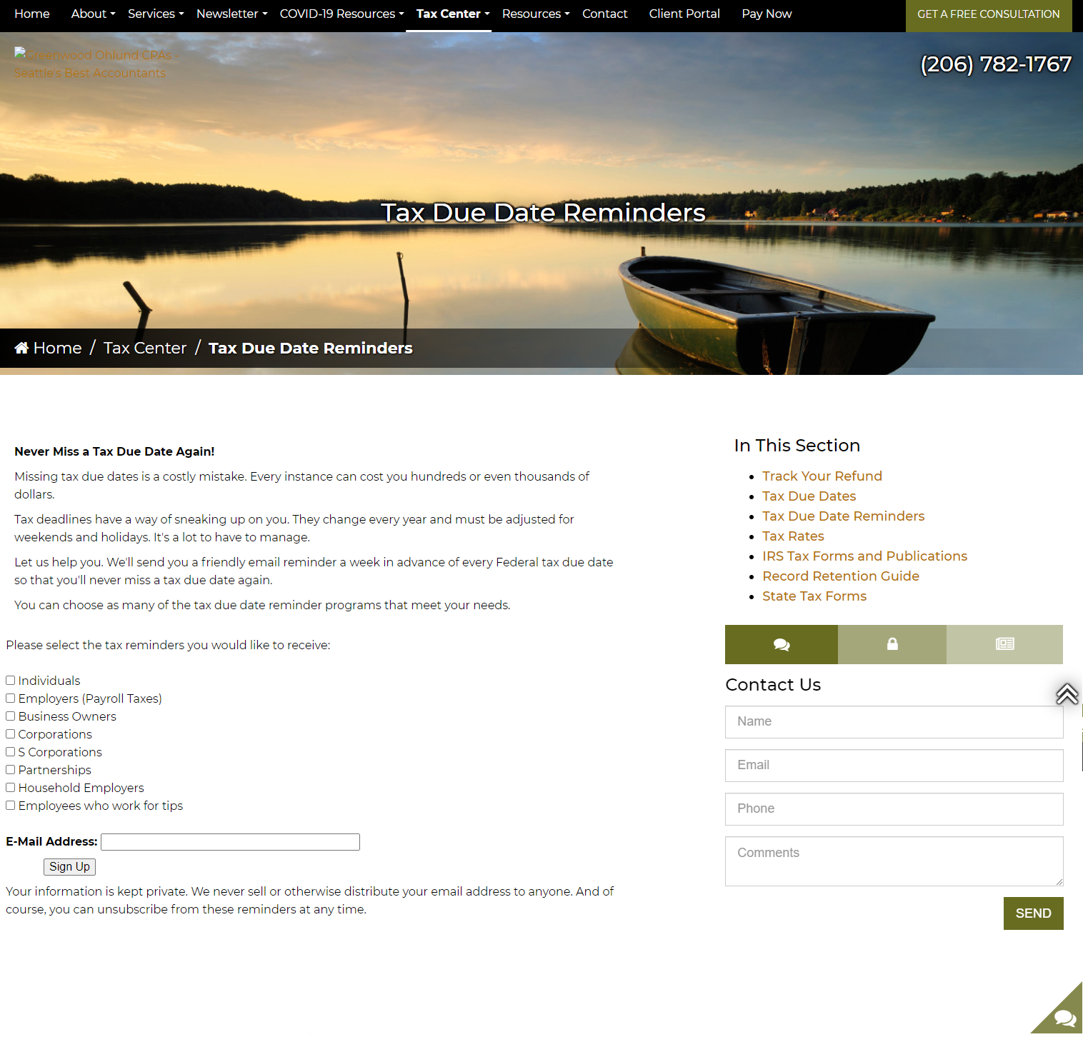 4 Conversion Focused Features for Accounting Firm Websites - Tax Due Dates Reminder
